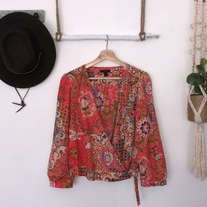 J.Crew multi colored wrap blouse size XL